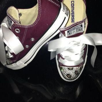 DCCK1IN custom women converse crystallized leopard style