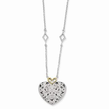 Sterling Silver w/14k Gold 1/10ct. Diamond Vintage Heart 18in Necklace