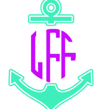 Anchor Monogram Decal Add Personality to Christmas Gifts, Great personal Gift, Gift Wrap Option, Personalize So Many Things