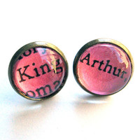 King Arthur Hot Pink Neon Vintage Library Card Word Earrings Aged Brass LIMITED EDITION COLOR