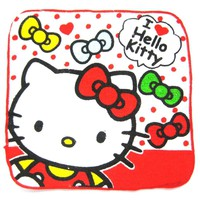 Small Hello Kitty Polka Dot Bow Tie Print Handkerchief Face Towel in Red and White