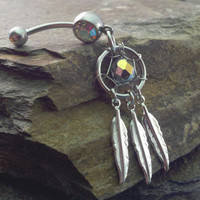 Dream Catcher Belly Button Jewelry Silver Feather by MidnightsMojo