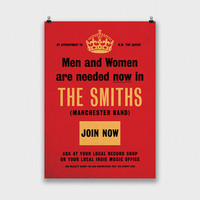 The Smiths Poster, Retro Morrissey Print, 1940s Official British Recruitment Music Poster, Keep Calm And Carry On ish, Wall Art, Gift Idea