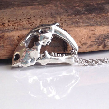 Etsy, Etsy Jewelry, Dinosaur Necklace, Dinosaur Skull, Long Necklace, Charm Necklace, Unique Necklace, Silver Plated, Long Charm Necklace d