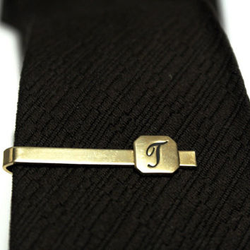 Letter T Tie Clip, Vintage Tie Clip, Monogram Tie Bar, Initial T Gold Plate Tie Clasp, Formal Wear, Mens Accessories, Groomsman Gift For Him