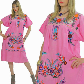 Mexican dress Boho dress Embroidered dress Oaxacan dress Festival dress Floral dress Hippie dress Mexico dress tent dress short sleeve S