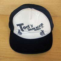 Vintage Two Tone Navy Blue and White Snapback Trucker Hat Cap