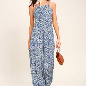 Lucy Love Lucy Blue Floral Print Jumpsuit