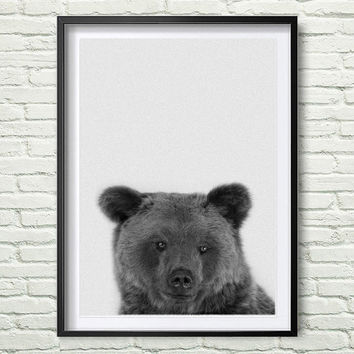 Bear Print, Woodlands Nursery Decor, Wall Art, Modern Minimal Black and White Animal, Printable Instant Digital Download *82*