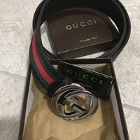 Men Gucci Black Leather Belt 36-40