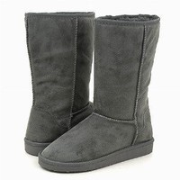 Grey Shearling Furry Flat Mid-calf Vegan Warm Boots