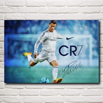 FOOCAME Soccer Player Cristiano Ronaldo Art Silk Fabric Poster Print Football Pictures Home Decoration Painting 12x18 24x36 Inch