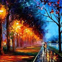 "ALLEY BY THE LAKE 2  —  Oil Painting On Canvas By Leonid Afremov. Size: 30""x40"""