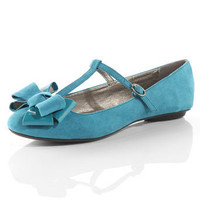 Teal t-bar bow pumps - View All Shoes  - Shoes  Boots  - Dorothy Perkins