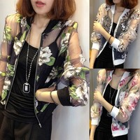 Summer Fashion Women Long Sleeve Floral Zip Coat Organza Sheer Jacket Tops