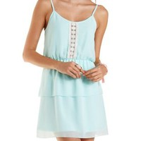 Light Blue Strappy Layered Chiffon Dress by Charlotte Russe