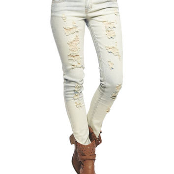 Deja Bleu Destroyed Skinny Jean | Wet Seal