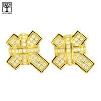 Jewelry Kay style Men's 925 Silver in 14k Gold Plated CZ XL Cross Screw Back Earrings SHS 627 G