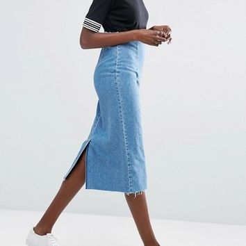 ASOS Denim Midi Pencil Skirt in Midwash Blue at asos.com