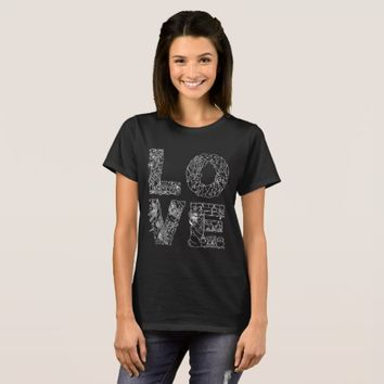 LOVE unique decorative text black T-Shirt