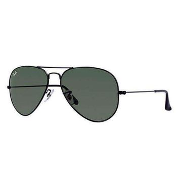 LMFONT Ray Ban Aviator Black with Green G15 Lens RB3025 L2823