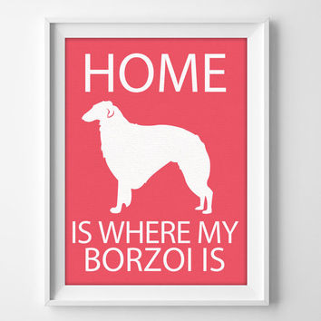 "8x10"" Borzoi Wall Art, Russian Wolfhound, Illustrated Dog Art, Borzoi Decor, Dog Breed Wall Art, Borzoi Gift, Puppy Print, Hound Art"