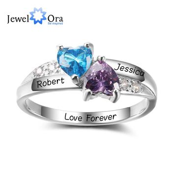 Personalized Engrave Birthstone Jewelry 925 Sterling Silver Double Heart Stone Name Ring Best Christmas Gift (JewelOra RI102402)