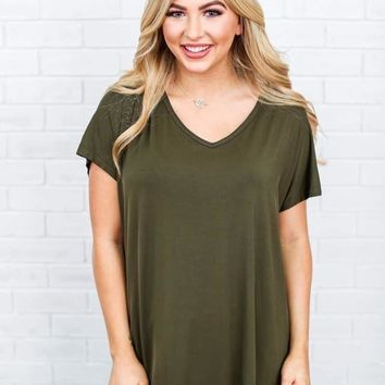 Peace Love Cake Beaux Top in OLIVE