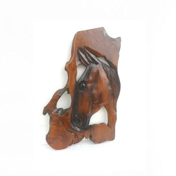 """Natural Teak Wood Carving Horse Head  Wooden Hand CarvedHorse Head  Wall Hanging Home Art Decor / Gift 18.5""""X11.5"""""""