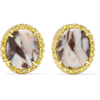 Kimberly McDonald - 18-karat gold, opal and sapphire earrings