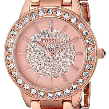 "Fossil Women's ES3657 ""Jesse"" Crystal-Accented Rose Gold-Tone Stainless Steel Watch"