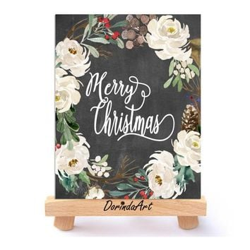 Christmas Wall art printable Black White Watercolor Christmas Wreath Print Merry Christmas Poster Chalkboard floral Christmas Decor DOWNLOAD