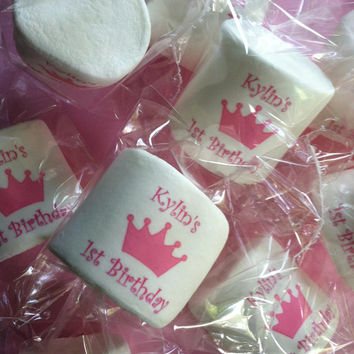 12 jumbo personalized marshmallows candy buffet princess party birthday pink  favors