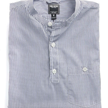Band Collar Popover Shirt in Navy Stripe