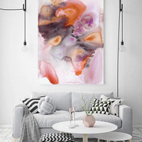 """Watercolor Symphony 9. Watercolor Abstract Brown Orange Canvas Art Print up to 72"""" by Irena Orlov"""
