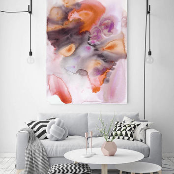 "Watercolor Symphony 9. Watercolor Abstract Brown Orange Canvas Art Print up to 72"" by Irena Orlov"