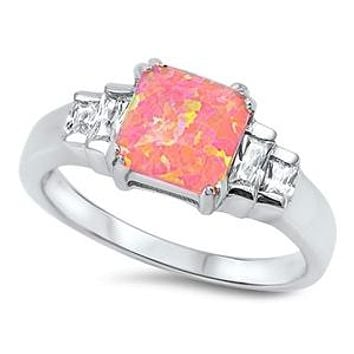 2CT Princess Cut Pink Orange Opal Engagement Ring