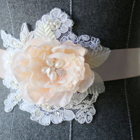Hand Beaded French Lace and Soft Blush Flower Wedding Sash Bridal Belt. Ribbon Available in Blush or Champagne