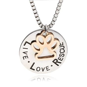 "Hot Pet Lover Dog"" live love adopt "" Pet Rescue Paw Print Tag Jewelry"