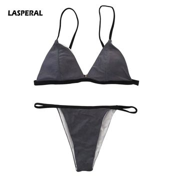 LASPERAL Two Piece Bikini Set 2017 Hot Sale Sexy Solid Micro Brazilian Biquinis Women Swimsuit Bathing Suits Maillot De Bain