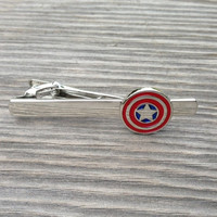 Captain America tie clip, Steve Rodgers Rogers agents of shield S.H.I.E.L.D. superhero superheroes tie bar clasp in gold