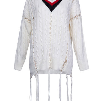 White Contrast V-neck Tie Up Detail Ribbed Knitted Sweater