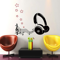 Wall Decals Music Decal Vinyl Sticker Headphones Notes Treble Clef Star Decor Home Bedroom Hall Studio Interior Design Art Murals MN407