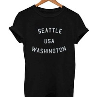 seattle usa washington font T Shirt Size XS,S,M,L,XL,2XL,3XL
