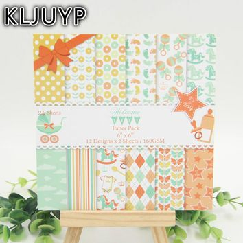 "KLJUYP 24sheets/pack 6"" Single Printed Baby Boy pattern creative papercraft art paper handmade scrapbooking kit set books"