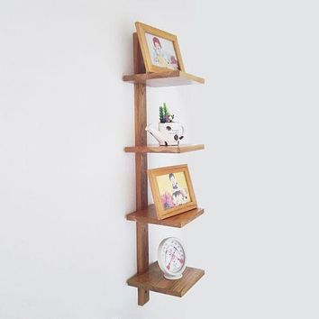 Rustic wood CD/DVD Storage Display 4 Tier Wall Mount Corner Shelves