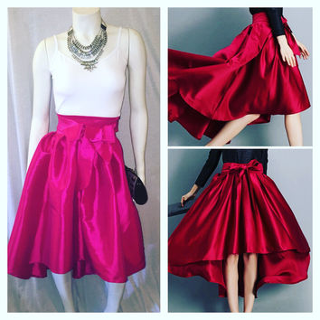 Fuchsia Elegant Chic Satin Hi Low High Waisted Skirt With Bow Size Small
