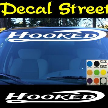 Hooked fishing  Windshield Visor Die Cut Vinyl Decal Sticker