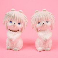 Vintage Kitsch White Dog Salt and Pepper Shakers by Lego