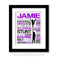 Cheerleading Stunt Team Typography Wall Art - Choose Any Colors - twenty3stars